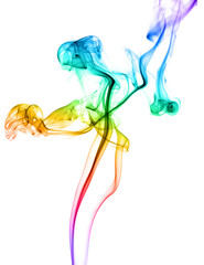 Abstract colored dancing smoke