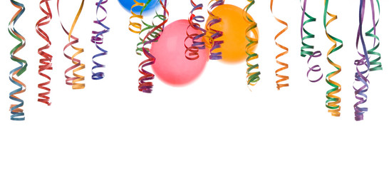 Border made from colorful balloons and confetti isolated on .