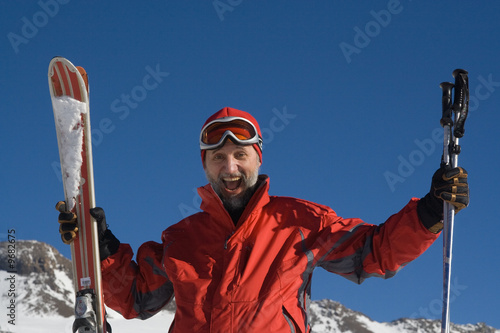 Skier and mountains