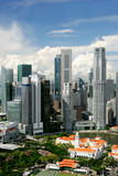 Skyline of  business district and  Boat Quay, Singapore poster