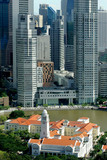 Skyline of modern business district and Boat Quay, Singapore poster