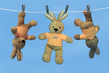 Toys on a linen cord