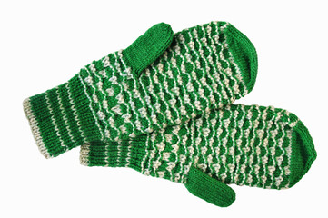 The bicoloured woolen mittens connected on spokes