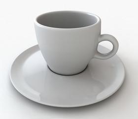 Una tazzina bianca di caffè
