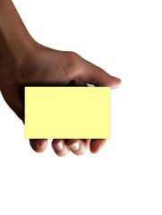 hand holding empty post-it card