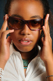 Portrait of young african fashion woman wearing sunglasses poster