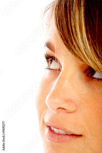 Casual woman face smiling isolated