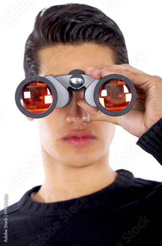 business man searching with binoculars - isolated
