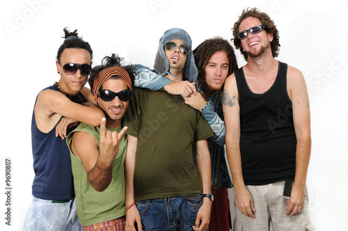 Portrait of young diverse group of trendy people isolated