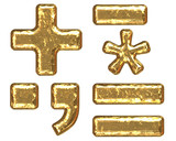 Golden font. Symbols. poster