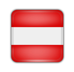 flag of austria, square button on white background