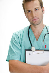 handsome doctor with stethoscope holding writing pad