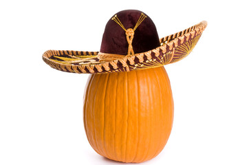 Big Pumpkin Wearing a Sombrero Isolated on White