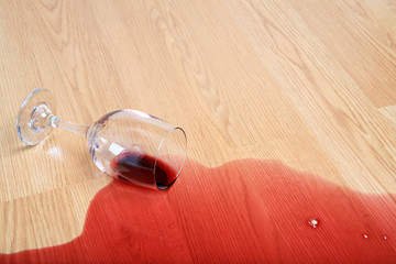 wine spill on wood - spilled glass of red wine