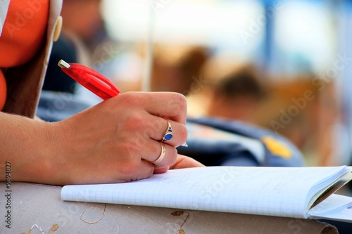 student, conference meeting, hand, pen, notebooks and writing..