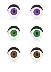 Eyes, icons on white