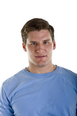 A young athletic looking man in a blue tshirt