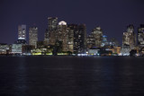 downtown Boston with water in the foreground poster
