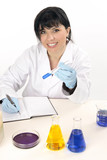 A scientist laboratory worker jotting  notes and observations poster