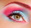 Elegance close-up of woman's eye with multicolored make-up