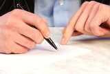 businessman is going to sign  commercial agreement  pen poster