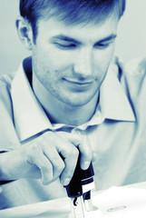 portrait, businessman seals on  document, close up