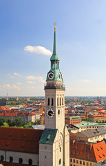 The aerial view of Munich city center from the City Hall