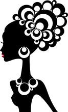 силуэт женщины с черными волосами и драгоценных камней
