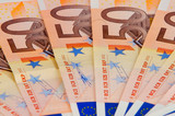 A fan of 50 Euro bank background poster