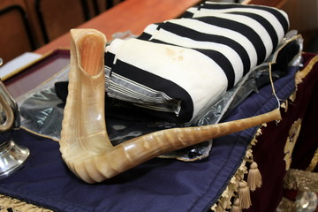 Traditional Jewish Shofar and Tallit