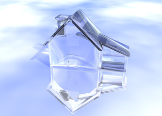 Luxury Clear Glass Diamond House Model on Blue-Sky