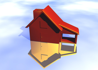 Red House Model on Blue-Sky Background with Reflection