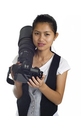 asian woman with cam and 300mm  tele