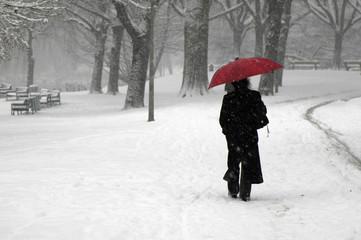 Frau mit rotem Schirm
