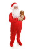 Santa Clause in footy pajamas with his teddy bear.  Full body poster