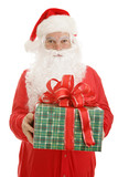 Santa Claus  in pajamas, holding a gift for you.  Isolated poster