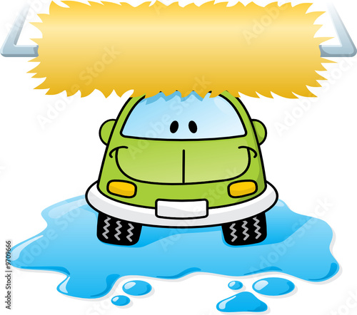 Cartoon car washing with roller brush and water splash
