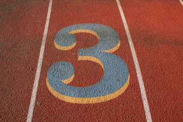 Number Three on a Running Lane
