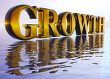 Gold Large Growth Text in 3d floating Big Over Water Ocean