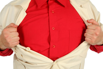 bosom in a red shirt opened by hands