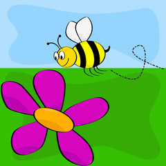 Cartoon bee and flower