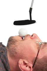 Lying man holds in mouth ball for golf of boss
