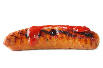 Barbecued sausage with tomato sauce.