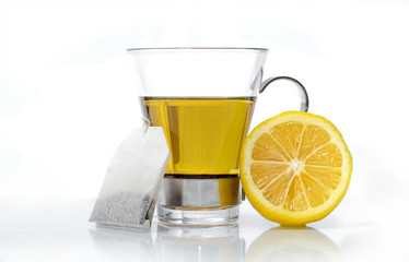 Cup of peppermint tea with lemon