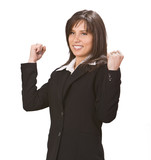 Young businesswoman expressing satisfaction poster