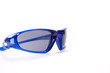 Sunglasses blue on white backgroung fashion black lens