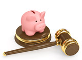 Judicial 3d gavel and piggy bank. Objects over white poster
