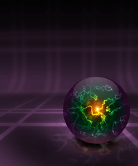 Magic sphere with bright sparkling lightnings