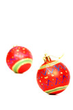 Vibrant red glass sphere Christmas decorations poster