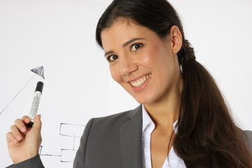 Pretty Businesswoman pointing at a groth graph